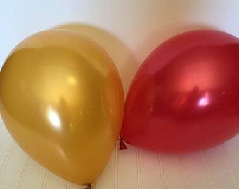 "Gold Pearl Latex Balloons - Holiday Party Balloons - High Quality Balloons - Red and Gold Balloons - 11"" Balloons - Holiday Decor"