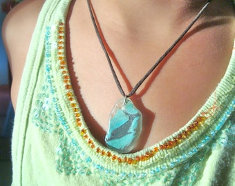 Kids Hand Made Jewelry- Hand Painted Dolphin Necklace- Genuine Sea Glass