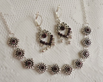 Amethyst Swarovski Crystal Rhinestone Necklace and Earring Set