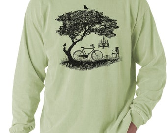 Men's Bike t-shirt, bicycle, tree, birds t-shirt, Celadon Green, Men's Long Sleeve T-shirt, Gift for Him, Art T-shirt, Cool t-shirt