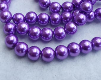 150 6 mm purple Pearl hole 1 mm glass pearl beads