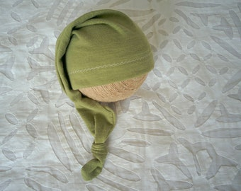 RTS Newborn stocking hat Baby sleepy hat Newborn photo prop Newborn knotted hat Newborn boy prop Green Olive newborn hat Night cap baby hat