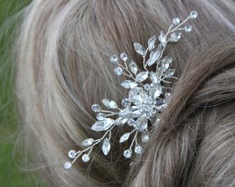 Bridal Crystal and Rhinestone Flower Hair Comb