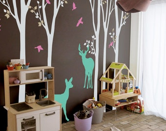 """Baby Nursery Wall Decals White Birch Trees Decal Tree Wall Decal - Tree Wall Decals - Tree Wall Decal with Deer - Large: 104"""" x 93"""" - KC022"""