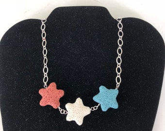 4th of July Patriotic Lava Bead Necklace with Red, White & Blue Stars