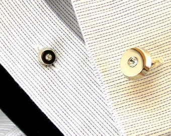 Pioneer Silver Tone Rhinestone Cuff Links and 3 Matching Shirt Studs Signed Pioneer Mid Century Cuff Links Round Cuff Links and Studs