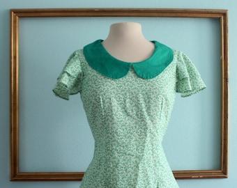 Peter Pan collar blouse in vintage floral print fabric- sample sale