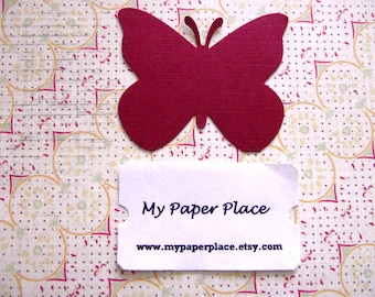50 Dark Red  Butterfly Die Cuts- 2 inch cardstock-  Free Secondary Shipping