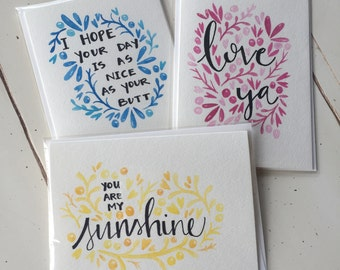 Greeting Cards | Hand Lettered | Hand Painted | 5x7 | Watercolor