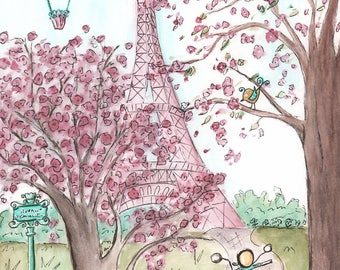 Pink Purple Paris Eiffel Tower Wall Art, Paris Bedroom Decor, French Nursery Art,  Paris Baby Shower Gift, 6 Sizes 5x7 to 24x36 Poster Size