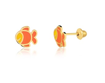 18k Solid Yellow Gold Little Fish Stud Earrings