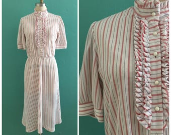 vintage 80's white striped secretary dress // ruffle collar day dress