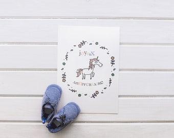Card birthday Unicorn, happy birthday boy, girl, boy, Unicorn illustration