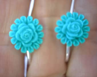 """Play Earring - Clip - Flower - Turquoise - 1/2"""""""