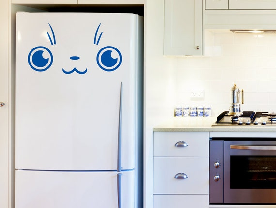 Cute fridge door decal vinyl sticker kitty face wall decals