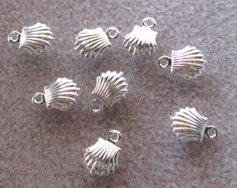 Bright Silver Plated Brass Sea Shell Charm Pendant 8mm x 10mm Lead Free 837