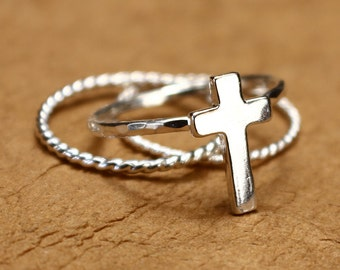 Sterling Silver Cross Ring Stacking Set, Easter Jewelry, Christian Jewelry, Christian Ring, Trinity Ring