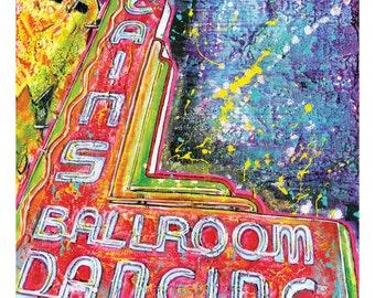 Cain's Ballroom Dancing - Neon Sign - 12 x 18 High Quality Art Print