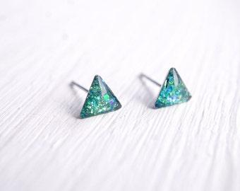 Tiny Teal Glitter Triangle Stud Earrings