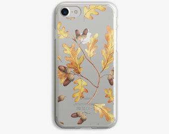 Acorns Fall Leaves Watercolor Illustration iPhone 7 Case Clear iPhone 6 Case Clear iPhone 6 Plus Case Clear iPhone 7 Plus Case Clear iPhone