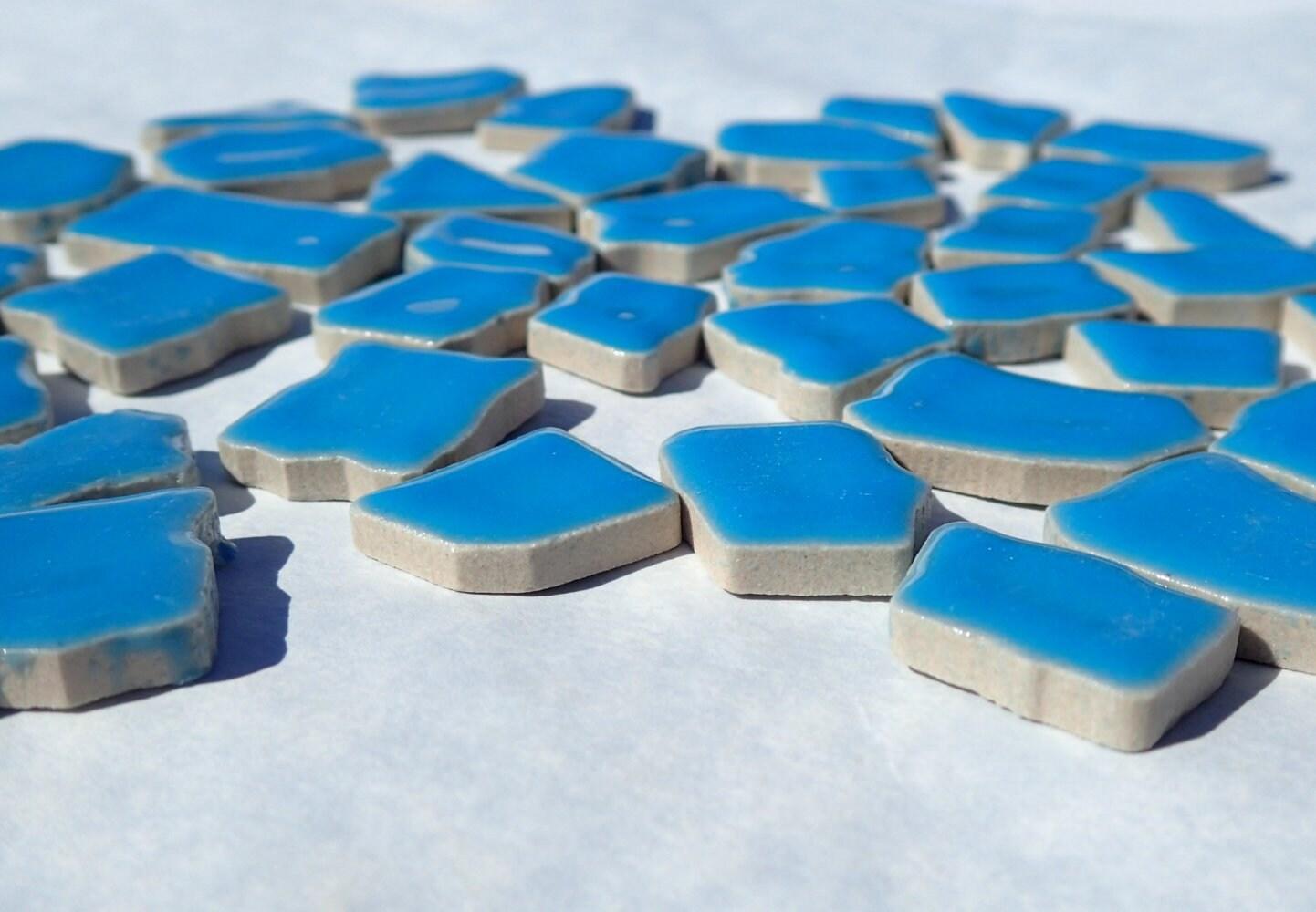 Mediterranean Blue Mosaic Ceramic Tiles - Jigsaw Puzzle Shaped ...