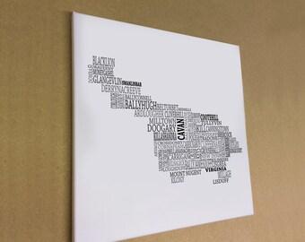 "Co. Cavan - Typographical Map Canvas Print 16"" x 16"""