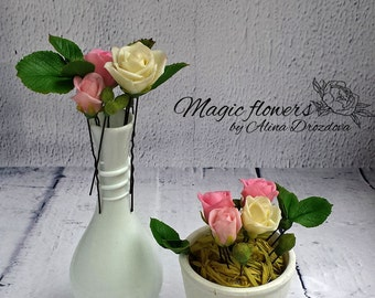 Ready to ship Hair pin set Rose hair pins Cold porcelain Clay flowers Wedding jewellery Pink roses Bouquet hair pin Flower hair pin