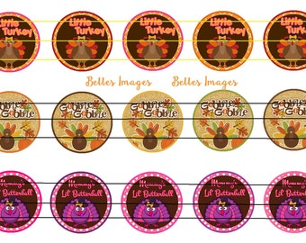 Thanksgiving Bottle Cap Images, Cupcake Toppers, Gobble Gobble Little Turkey, Cute Thanksgiving Bottle Cap Images, 1 Inch, Digital File Only