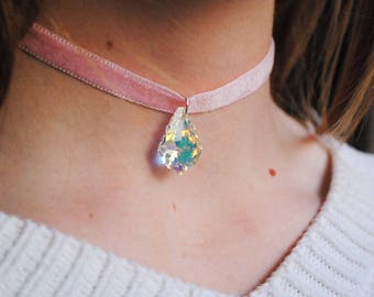 Pink Velvet Choker with Swarovski Crystal | The Swarovski Diamond Choker | Pink | Handmade