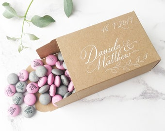 Rustic favour boxes, wedding favour boxes, kraft gift boxes, small natural wedding favours with calligraphy