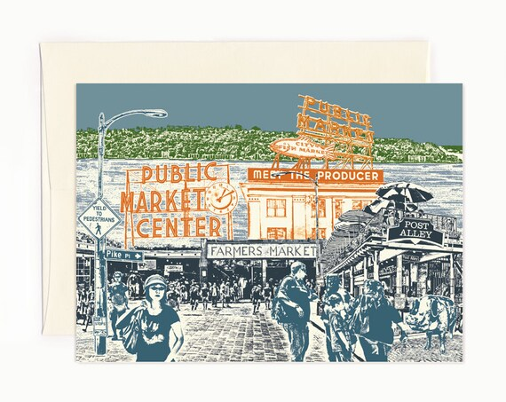 Shopping at Pike Place Market Notecard - Seattle Washington - full color - folded Greeting Card  - Single or Set of 6