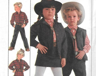 Simplicity 8259 Child's Western Wear Dance Cowboy Cowgirl Jacket Skirt Pants Vest Sewing Pattern Size 5