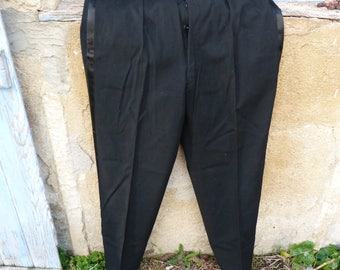 Vintage Antique 1900/1930 French black wool tuxedo trousers gorgeous finitions