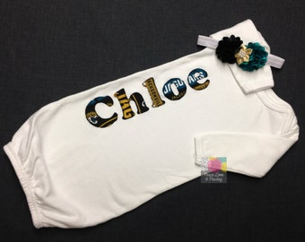 Jacksonville Jaguars Personalized Baby Gown and Hat or Headband Set, Newborn Gown, Baby Jags Outfit, Going Home Outfit, Baby Shower Gift