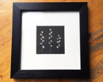 Floral linocut print - framed