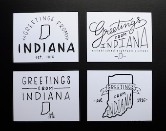 Greetings from Indiana Postcard Set - Hand Lettered and Letterpress Printed in Indianapolis Original Handlettering