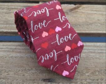 Mirrored Love Necktie, Valentine's Day Necktie, Hearts Necktie, Red Necktie, Holiday Necktie