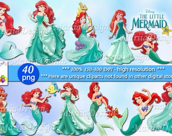 Little Mermaid Clipart - 40 PNG, 150-300 Dpi, Little Mermaid png, Little Mermaid clip art, Mermaid clipart, Mermaid png, Mermaid clip art