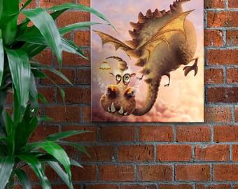 Dragon, wall art, color illustration, poster humorous animal, décoration, digital painting, gift, wall art print