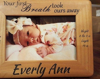 Personalized Engraved Baby Picture Frame   - Customized Baby Keepsake - Engraved Alder Photo Frame - Baby Shower Gift