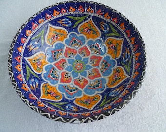 "Turkish Ceramic Bowl, 10""  bowl, Raised Floral design, Serving Bowl, blue and marigold, fruit bowl, salad bowl, dinner party, wedding gift"