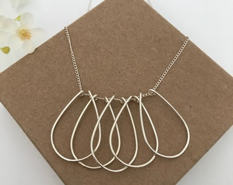 TARA- large teardrops, wire necklace, overlapping drops, pendant, 925 sterling silver