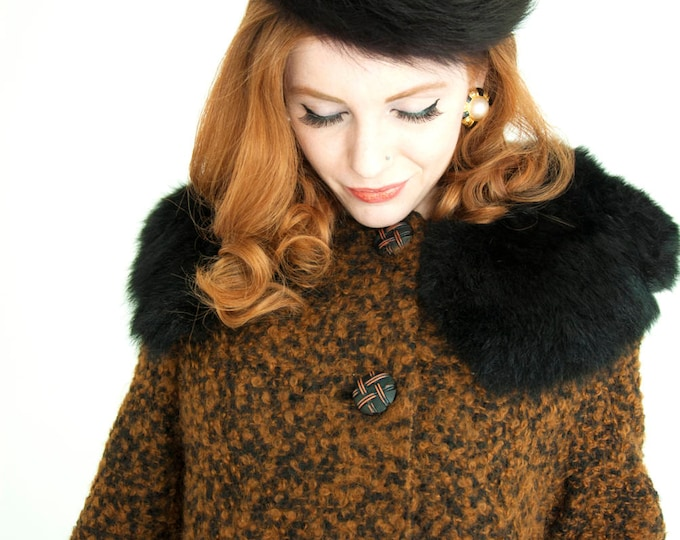 Vintage brown wool coat, 1950s boucle black fur collar,
