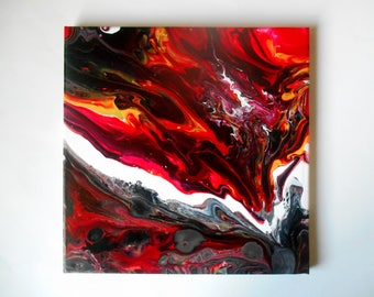 Original Abstract Pour Acrylic Painting Modern Home Wall Decor Red Wall Art  Black White Canvas Fluid Acrylic Canvas Art 12 X 12 Canada