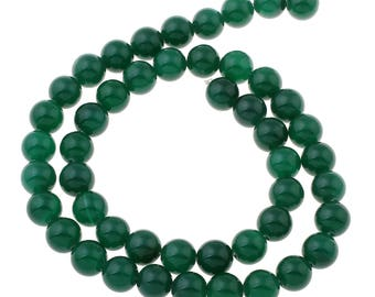 12 Pieces 8mm Green Agate Beads