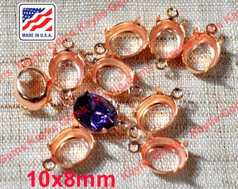 Oval 10x8mm Prong Setting Sterling Rose Gold Plated 1 Ring 2 Ring - 12 pcs