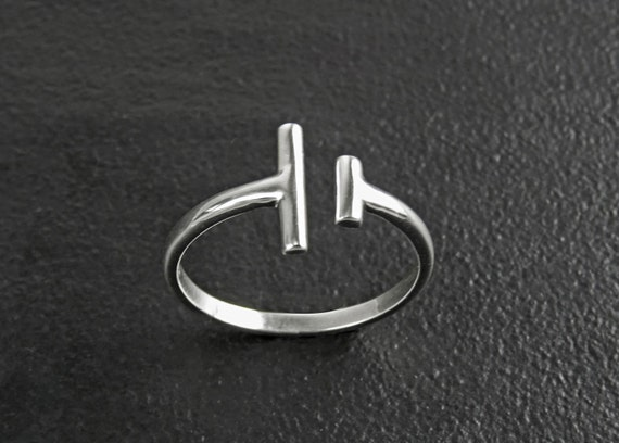 Open Bar Ring, Sterling Silver 925, Double Bar Ring, Dainty T Bar Ring, Minimalist Barred Ring, Adjustable Two Bars Ring, Parallel Bars Line