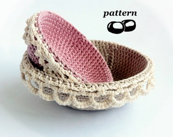 Nesting Crochet Bowls Pattern / Stacking Bowl Pattern / Crochet Lace Edged Bowls