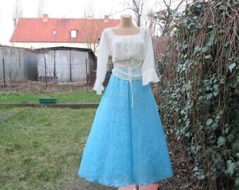 Bilateral Long Skirt / Skirt Vintage / 2 in 1 /  Maxi / Full / Elastic Waist / EUR 38 / UK10 / Blue Long Skirt
