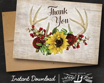 Fall Antler Thank You Card | Instant Download Printable Digital File DIY | Rustic Thank You Card | Sunflower Horns Birch Antlers Marsala